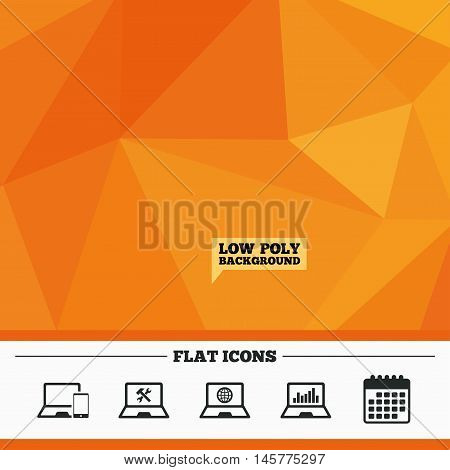 Triangular low poly orange background. Notebook laptop pc icons. Internet globe sign. Repair fix service symbol. Monitoring graph chart. Calendar flat icon. Vector