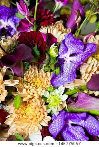 Flowers bouquet mix with different colors. Different type of flowers. Very colorful image