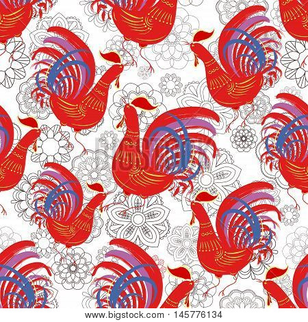Seamless pattern with color fire cock on line art floral background. Chinese calendar Zodiac for 2017 New Year of red rooster. Isolated vector silhouettes made in folk style.