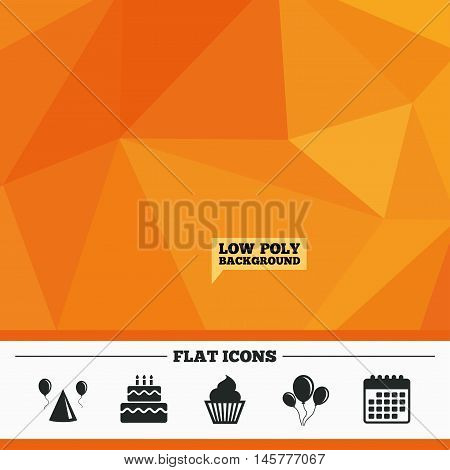Triangular low poly orange background. Birthday party icons. Cake, balloon, hat and muffin signs. Celebration symbol. Cupcake sweet food. Calendar flat icon. Vector
