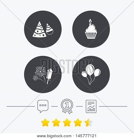 Birthday party icons. Cake, balloon, hat and muffin signs. Fireworks with rocket symbol. Cupcake with candle. Chat, award medal and report linear icons. Star vote ranking. Vector