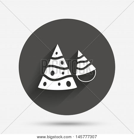 Party hat sign icon. Birthday celebration symbol. Circle flat button with shadow. Vector