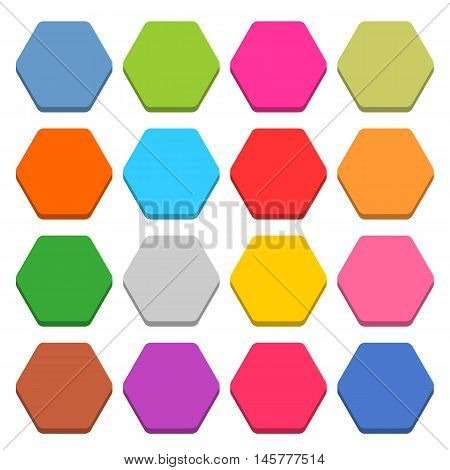 16 blank icon in flat style. Sexangle 3D button on white background. Blue red yellow gray green pink orange brown violet colors. Vector illustration web internet design element in 8 eps