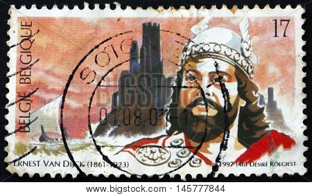 BELGIUM - CIRCA 1997: a stamp printed in the Belgium shows Ernest Van Dijck Tenor Opera at Theatre Royal de la Monnaie Brussels circa 1997