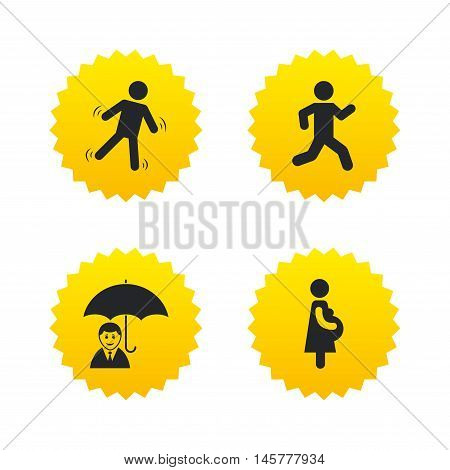 Businessman with umbrella icon. Human running symbol. Man love Woman or Lovers sign. Women Pregnancy. Life insurance. Yellow stars labels with flat icons. Vector