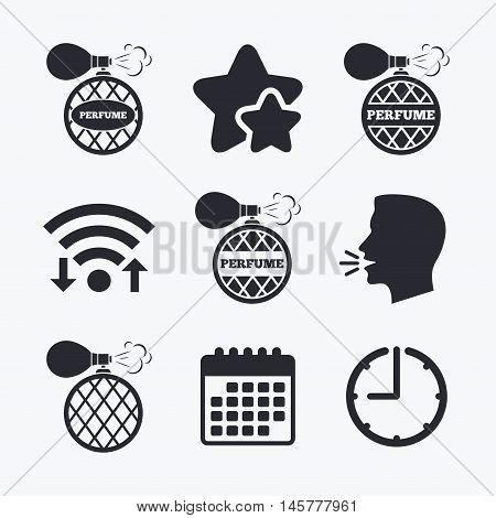 Perfume bottle icons. Glamour fragrance sign symbols. Wifi internet, favorite stars, calendar and clock. Talking head. Vector