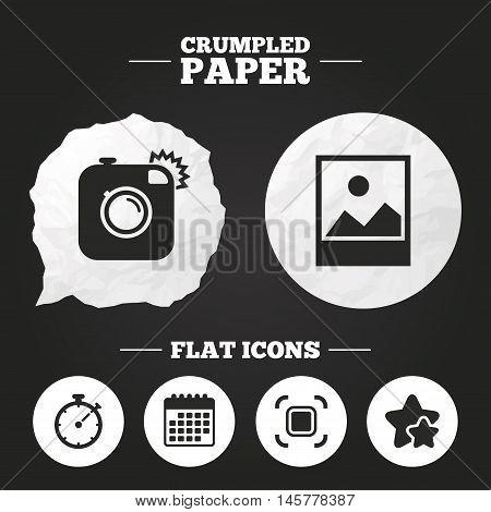 Crumpled paper speech bubble. Hipster retro photo camera icon. Autofocus zone symbol. Stopwatch timer sign. Landscape photo frame. Paper button. Vector