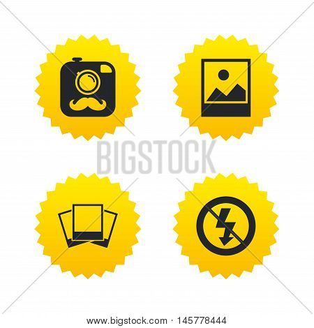 Hipster retro photo camera with mustache icon. No flash light symbol. Landscape photo frame. Yellow stars labels with flat icons. Vector