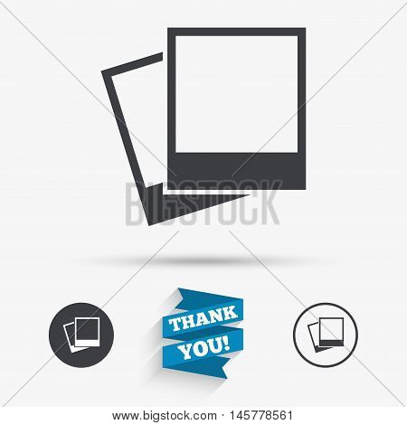 Photo frames template sign icon. Empty photography symbol. Flat icons. Buttons with icons. Thank you ribbon. Vector