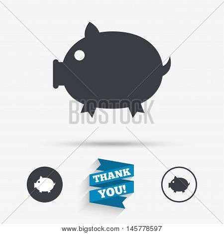 Piggy sign icon. Pork symbol. Flat icons. Buttons with icons. Thank you ribbon. Vector