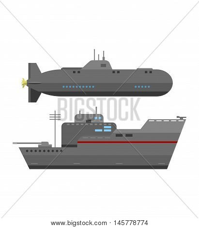 Grey modern warship sailing still water vector. Military ship navy war sea warship and military ship boat vessel weapon. Military ship transportation naval water battle destroyer marine forces.