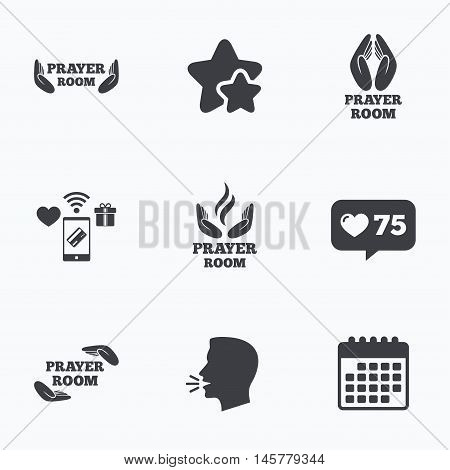 Prayer room icons. Religion priest faith symbols. Pray with hands. Flat talking head, calendar icons. Stars, like counter icons. Vector
