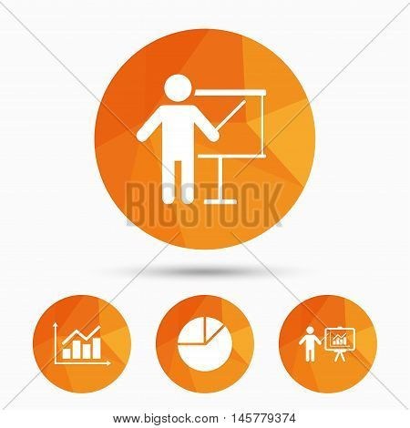 Diagram graph Pie chart icon. Presentation billboard symbol. Supply and demand. Man standing with pointer. Triangular low poly buttons with shadow. Vector