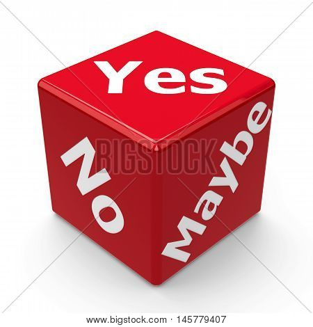 Red choice (yes no maybe) dice isolated on white background three-dimensional rendering 3D illustration