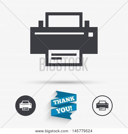 Print sign icon. Printing symbol. Print button. Flat icons. Buttons with icons. Thank you ribbon. Vector