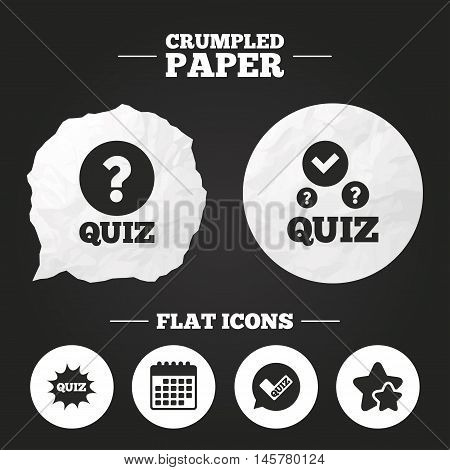 Crumpled paper speech bubble. Quiz icons. Speech bubble with check mark symbol. Explosion boom sign. Paper button. Vector