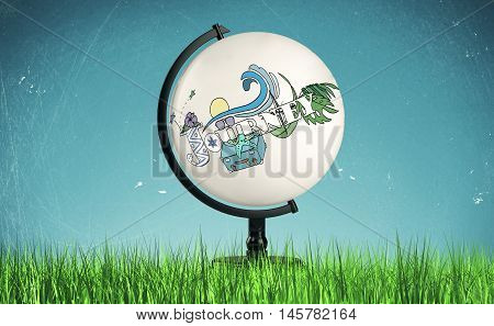 Creative journey sketch on abstract terrestrial globe place on green grass. Worldwide travel concept