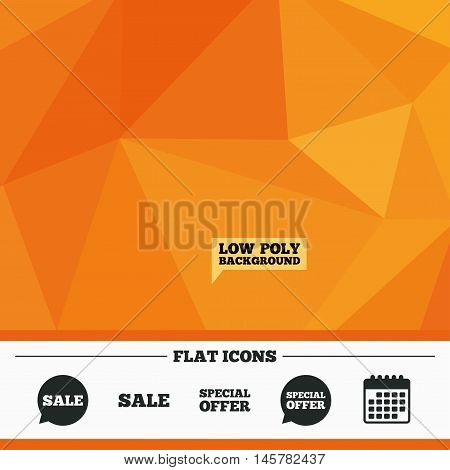Triangular low poly orange background. Sale icons. Special offer speech bubbles symbols. Shopping signs. Calendar flat icon. Vector