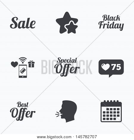 Sale icons. Best special offer symbols. Black friday sign. Flat talking head, calendar icons. Stars, like counter icons. Vector