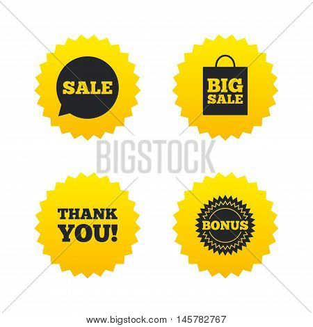 Sale speech bubble icon. Thank you symbol. Bonus star circle sign. Big sale shopping bag. Yellow stars labels with flat icons. Vector