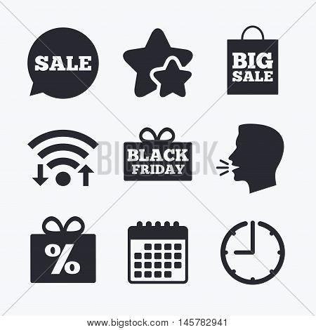 Sale speech bubble icon. Black friday gift box symbol. Big sale shopping bag. Discount percent sign. Wifi internet, favorite stars, calendar and clock. Talking head. Vector