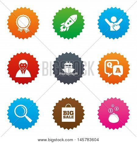 Online shopping, e-commerce and business icons. Startup, award and customers like signs. Cash money, shipment and sale symbols. Stars label button with flat icons. Vector