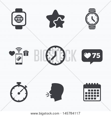 Smart watch with internet icons. Mechanical clock time, Stopwatch timer symbols. Wrist digital watch sign. Flat talking head, calendar icons. Stars, like counter icons. Vector