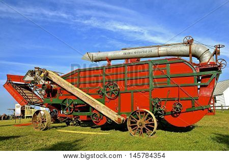 ROLLAG, MINNESOTA, Sept 1, 2016: The old restored threshing machine is from The Great Minneapolis Line, Power Farming Machinery of the Minneapolis Threshing Machine Company, Minneapolis, Minnesota in the early 1900's.