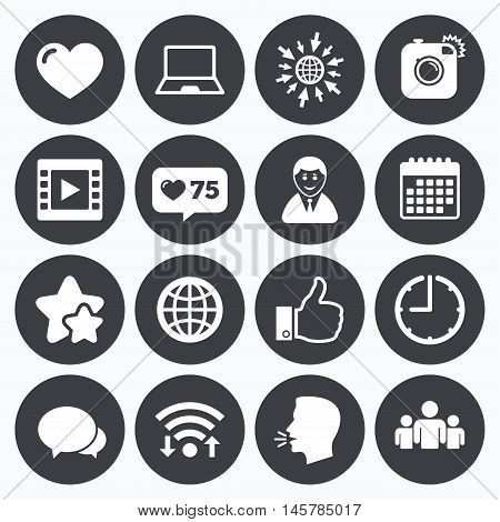 Calendar, wifi and clock symbols. Like counter, stars symbols. Social media icons. Video, share and chat signs. Human, photo camera and like symbols. Talking head, go to web symbols. Vector