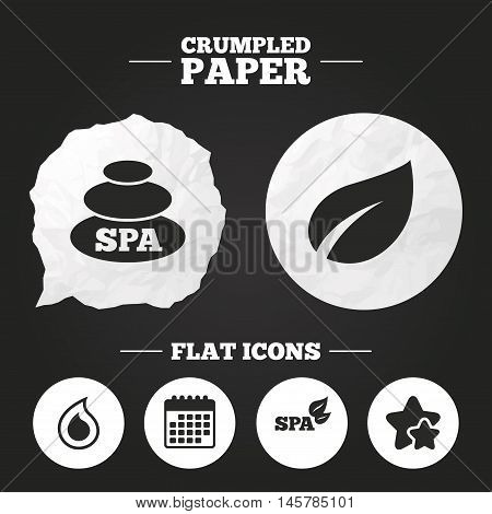 Crumpled paper speech bubble. Spa stones icons. Water drop with leaf symbols. Natural tear sign. Paper button. Vector