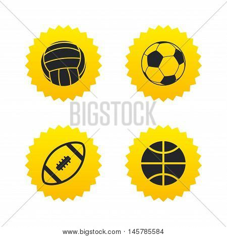 Sport balls icons. Volleyball, Basketball, Soccer and American football signs. Team sport games. Yellow stars labels with flat icons. Vector