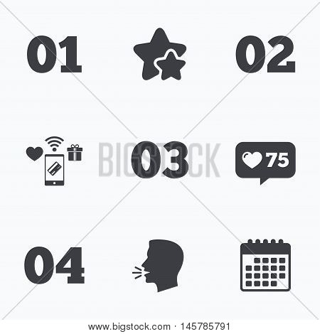 Step one, two, three and four icons. Sequence of options symbols. Loading process signs. Flat talking head, calendar icons. Stars, like counter icons. Vector