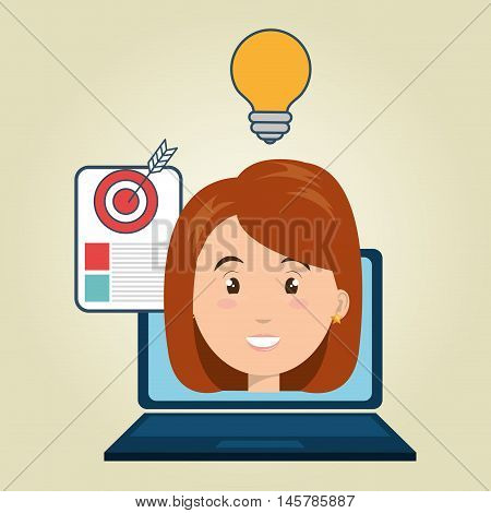 woman laptop document idea vector illustration eps 10