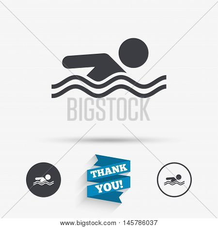Swimming sign icon. Pool swim symbol. Sea wave. Flat icons. Buttons with icons. Thank you ribbon. Vector