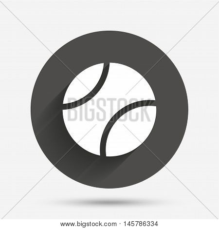Tennis ball sign icon. Sport symbol. Circle flat button with shadow. Vector