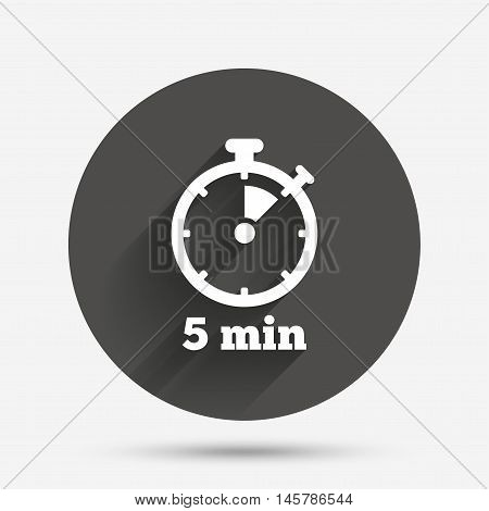 Timer sign icon. 5 minutes stopwatch symbol. Circle flat button with shadow. Vector