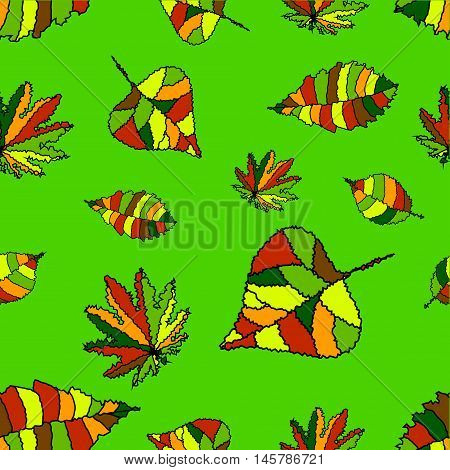 The pattern of autumn leaves. Funky maple chestnut lime leaves on a green background.