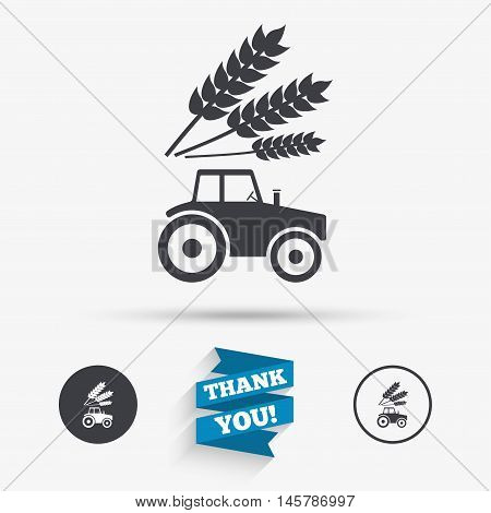 Tractor with Wheat corn sign icon. Agricultural industry symbol. Flat icons. Buttons with icons. Thank you ribbon. Vector