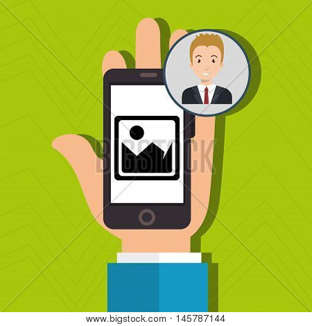 hand cellphone man icon vector illustration eps 10