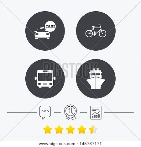 Transport icons. Taxi car, Bicycle, Public bus and Ship signs. Shipping delivery symbol. Speech bubble sign. Chat, award medal and report linear icons. Star vote ranking. Vector