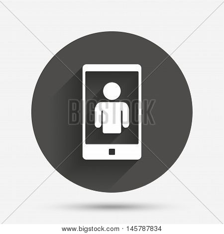 Video call sign icon. Smartphone symbol. Circle flat button with shadow. Vector