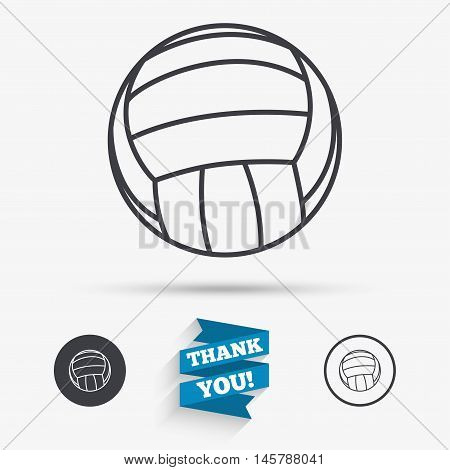 Volleyball sign icon. Beach sport symbol. Flat icons. Buttons with icons. Thank you ribbon. Vector