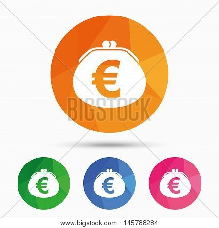 Wallet euro sign icon. Cash bag symbol. Triangular low poly button with flat icon. Vector