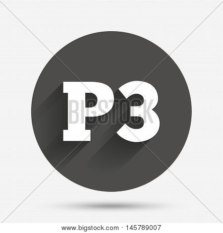 Parking third floor sign icon. Car parking P3 symbol. Circle flat button with shadow. Vector
