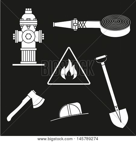 Set On Fire Service. Objects On A White Background