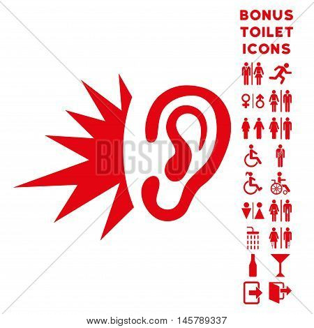 Listen Loud Sound icon and bonus man and female WC symbols. Vector illustration style is flat iconic symbols, red color, white background.