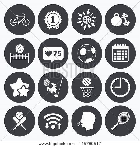 Calendar, wifi and clock symbols. Like counter, stars symbols. Sport games, fitness icons. Football, basketball and tennis signs. Golf, bike and winner medal symbols. Talking head, go to web symbols. Vector