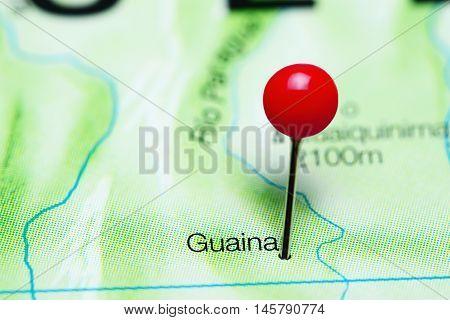 Guaina pinned on a map of Venezuela