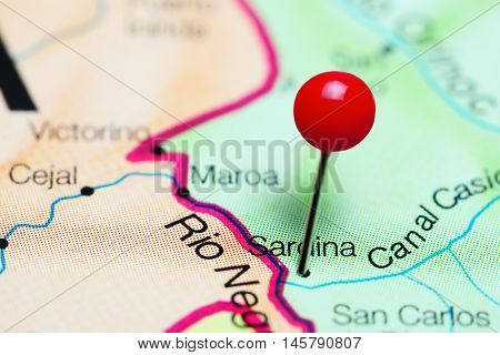 Sardina pinned on a map of Venezuela