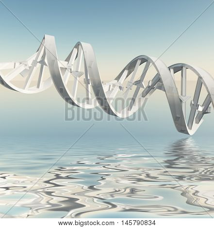 DNA Strand Reflections 3D Rendered